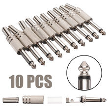 цена на 10pcs/pack 6.35mm Male Solder-on Audio Connector 1/4Inch Male Mono Jack Audio Plug Connector Jack Adapter