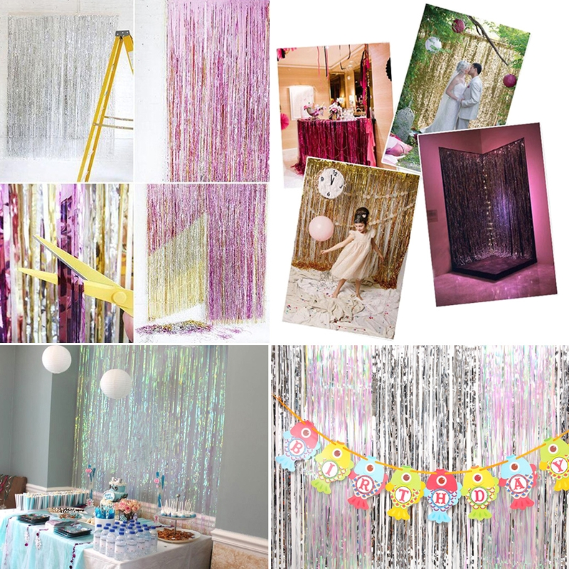 Shimmer Foil Glitter Metallic Backdrop Tinsel Curtain Fringe Party Wedding Decoration Home Decor in Party DIY Decorations from Home Garden