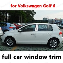 Car Exterior Accessories Styling Decoration Strips  Stainless Steel full Window Trim for Volkswagen Golf 6 with column
