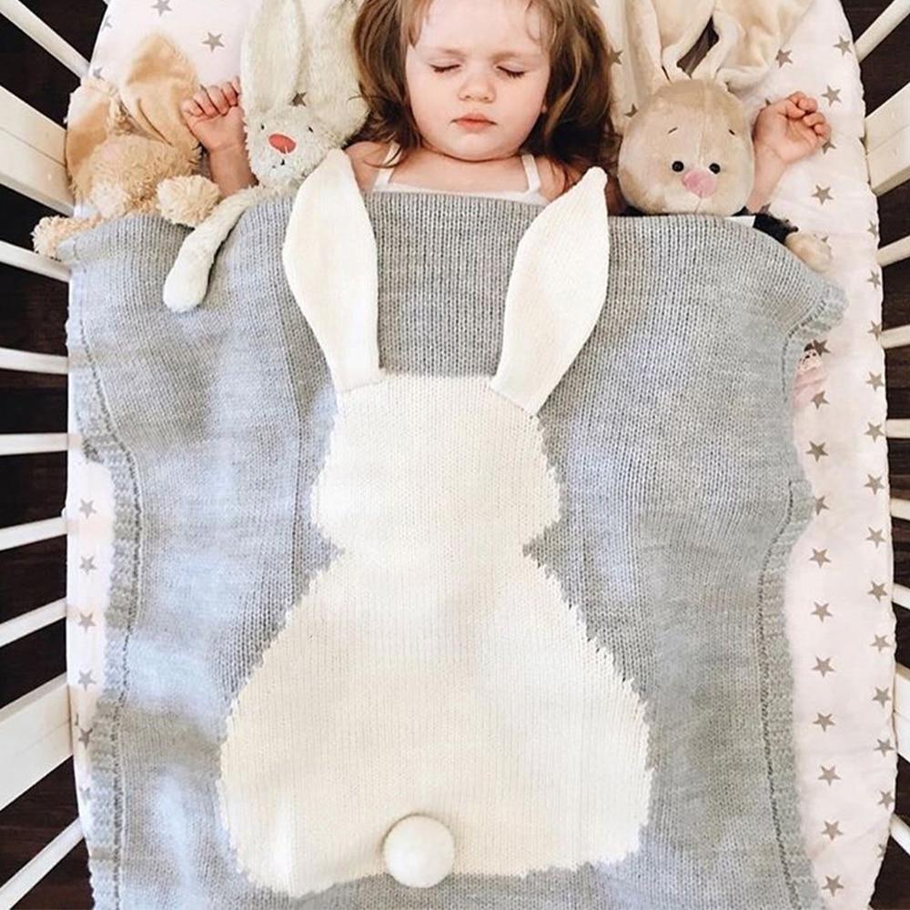 New Newborn Bedding Blankets Baby Carriage Cover Blanket Cute Big Rabbit Ear Blanket Soft Warm Knitted Swaddle Kids Bath Towel