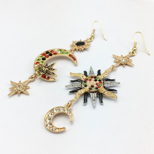 Boho Islamic Moon Star Sun Drop Style Earrings