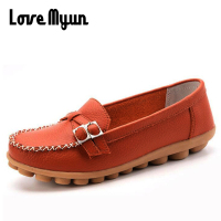Big Size Women Round Toe Leather Shoes Fashion Soft Comfortable Loafers Women Casual Flats Mum Shoes