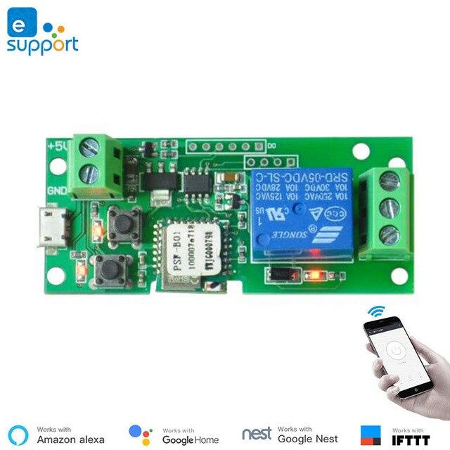 EweLink smart USB 5V DIY 1 Channel Jog Inching Self locking WIFI Wireless Smart Home Switch Remote Control with Amazon Alexa