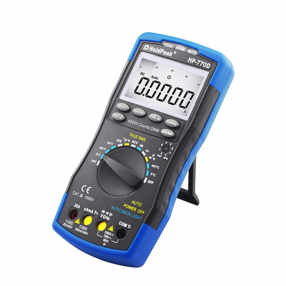 HoldPeak Digital multimetertestare HP-770D Auto Range Multimetro True RMS 40000 Räknar Mät Ohm Volt Amp Esr Kondensator Tester