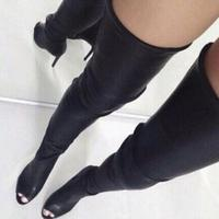 Women Fashion Solid Black Leather Tight High Boots Open Toe Back Zipper Over The Knee Boots Winter High Heel Sexy Long Boots