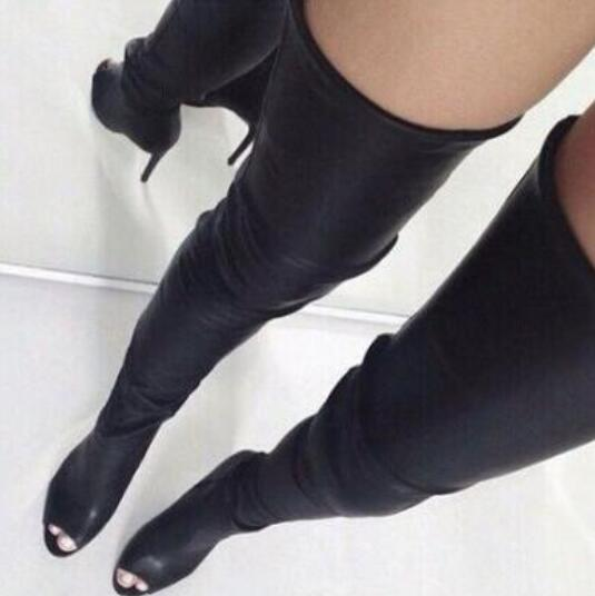 Women Fashion Solid Black Leather Tight High Boots Open Toe Back Zipper Over The Knee Boots Winter High Heel Sexy Long Boots new arrival superstar genuine leather chelsea boots women round toe solid thick heel runway model nude zipper mid calf boots l63