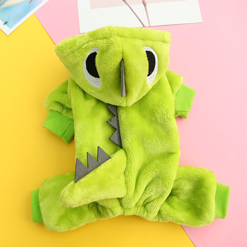 Dinosaur Costume Warm Pet Dog Cosplay Small Puppy Cat Halloween Apparel Winter Chihuahua Coat Jumpsuit