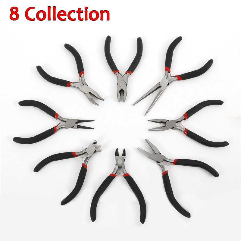 1/8pcs Jewellery DIY Making Beading Mini Pliers Tools Kit Set Round Flat Long Nose CLH 7pcs mini beading pliers tools round flat long nose multi size pliers set