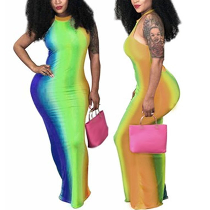 2019 personality Women Sexy Fashion Backless Sleeveless Tie Dye Printing Strap Long Dress in Dresses from Women 39 s Clothing