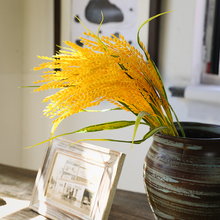 5 Fork Wheat Ear Plant Autumn Decor Simulated Grain Yellow Rice Seedling Fake Branch Paddy Food Home Decoration Champetre H0091 стоимость