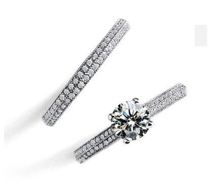 Luxury Female White Bridal Wedding Ring Set   4