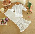 summer lace Women's Sets half sleeve ruffles o-neck lace blouse + fish tail solid color medium long skirt two pieces suit