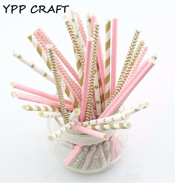 YPP CRAFT 125pcs pink gold striped mixed birthday wedding decorative party decoration event supplies drinking Paper Straws