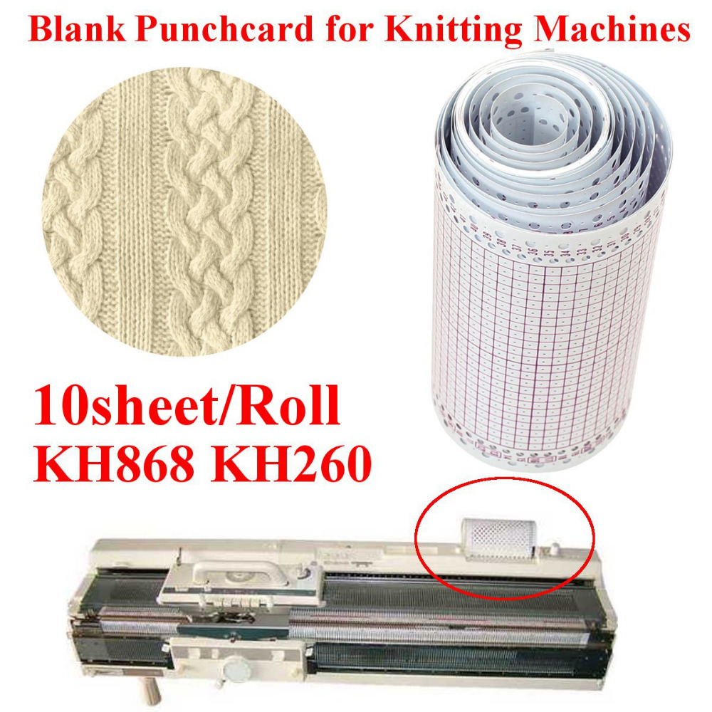10sheet/Roll 3.2 Metre 24 Stitch Card Punch Device For Brother Knitting Machines KH868 KH260 Punch Cards DIY Sweater Accessory