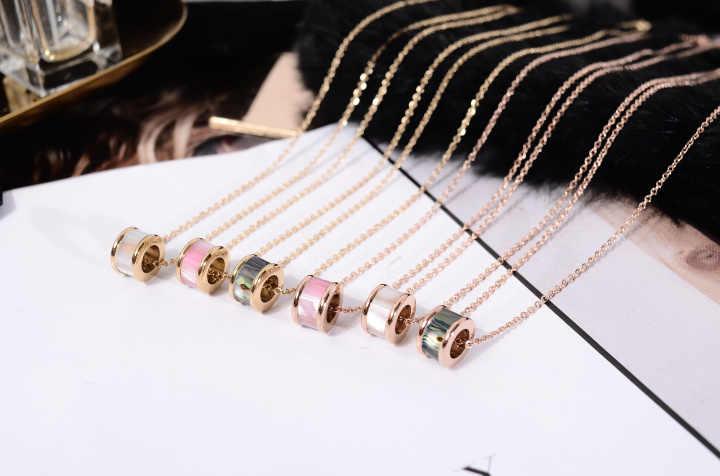 Moda marka kobiety biżuteria różowe złoto srebro kolor naturalne powłoki cyrkon CZ wkładka naszyjnik 316 L ze stali nierdzewnej biżuteria ze stali nierdzewnej
