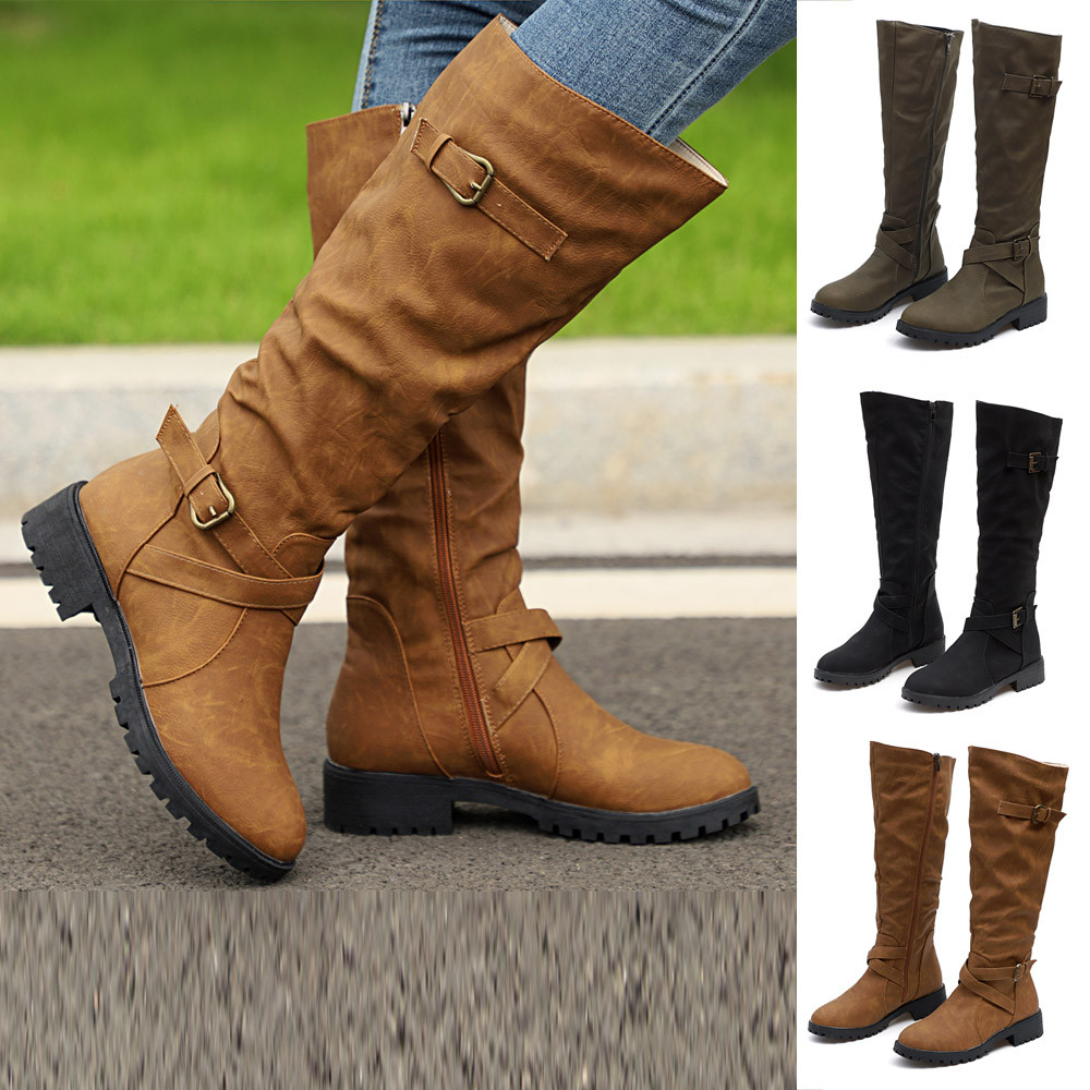 US $11.51 36% OFF|YOUYEDIAN Womens Knee High Calf Biker Boots Ladies Zip Punk Military Combat Army Boots Faux Suede Leather High Heels Women #Y40 in