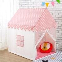 Детская игровая палатка 100% натуральный хлопок холст большой замок портативный крытый и открытый весело играет для детей с коврики розовый
