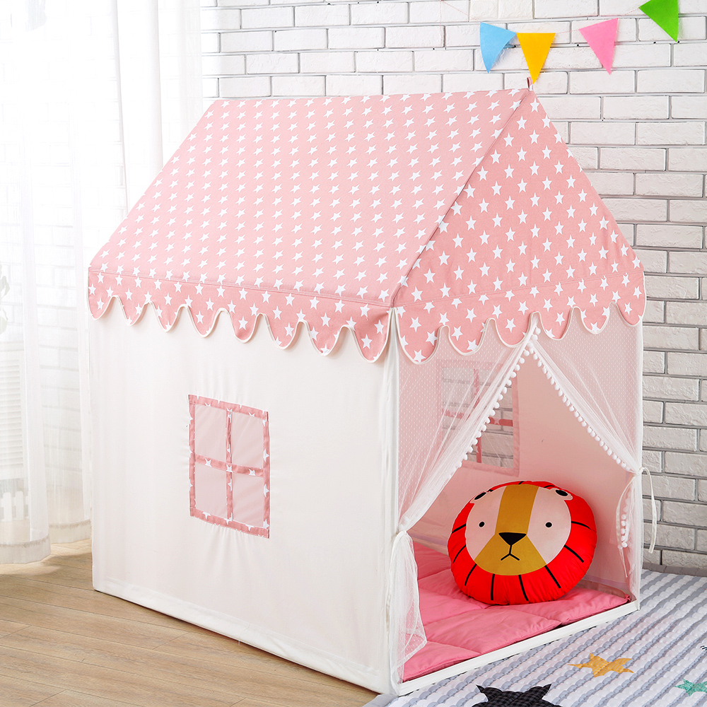 Childern Play House Tent 100% Natural Cotton Canvas Large Castle Portable Indoor and Outdoor Fun Plays For Kids With Mat Pink цена в Москве и Питере