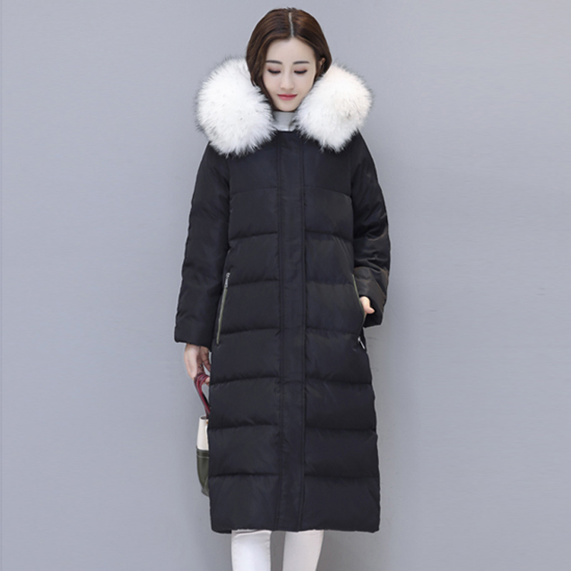 New High Quality Winter 90% White Duck Down Jacket Women fur collar Long Coat Parkas Thicken warm Female Warm Solid coat RE0836