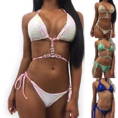 New Sexy Sequins Rhinestone Bikini Set Women Crystal Swimwear Halter Bandage Diamond Swimsuit Push-up Padded Bathing Suit Beach 1