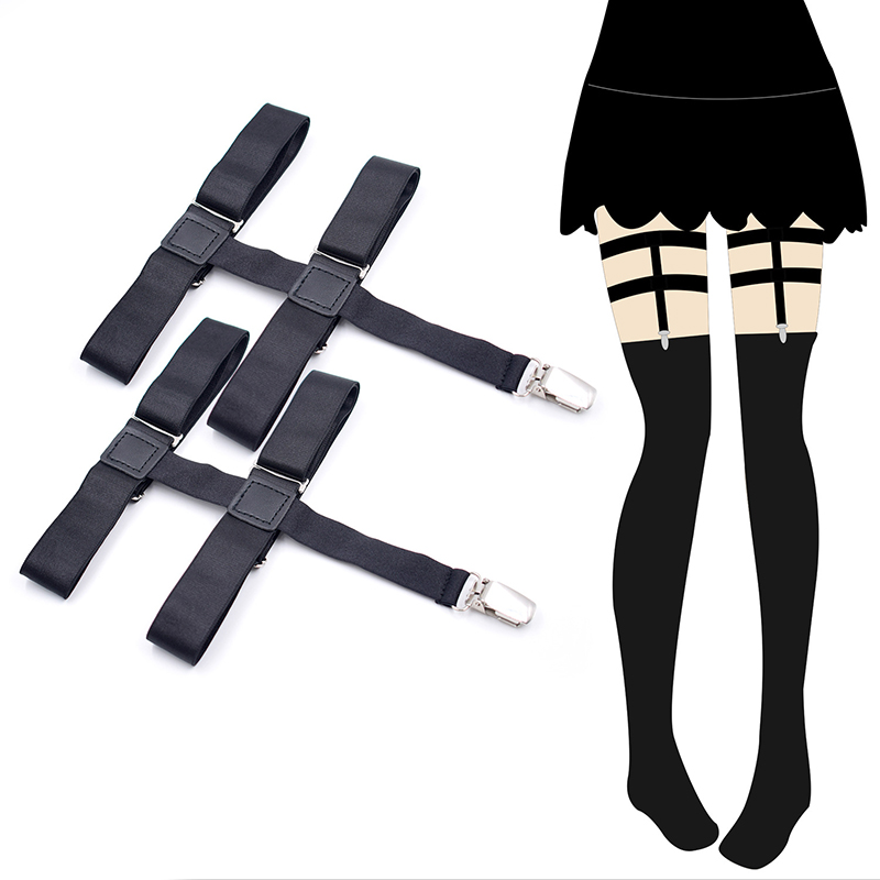 Black Metal Clips Non-slip Stockings Garters Stays Suspenders Female Leg Elastic Knee High Socks Garter Belt