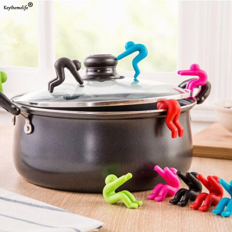 2pcs Silicone Spill-Proof Villain Raise Lid Heightening For Pot Cover Anti-Overflowing Kitchen Tool Holder Stand Racks