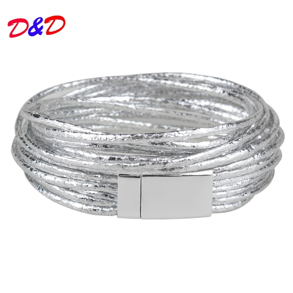 D&D 4 Colors Multiple Layers Leather Bracelets & Bangle Women Classic Rope Chain Charms Bracelets Fashion Jewelry Gifts