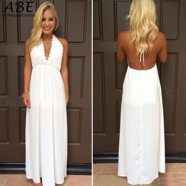 V-Neck Long White Backless Sundresses