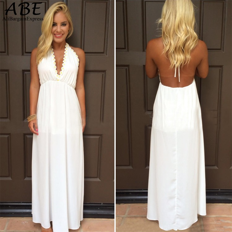 Popular Long White Halter Dress-Buy Cheap Long White Halter Dress ...