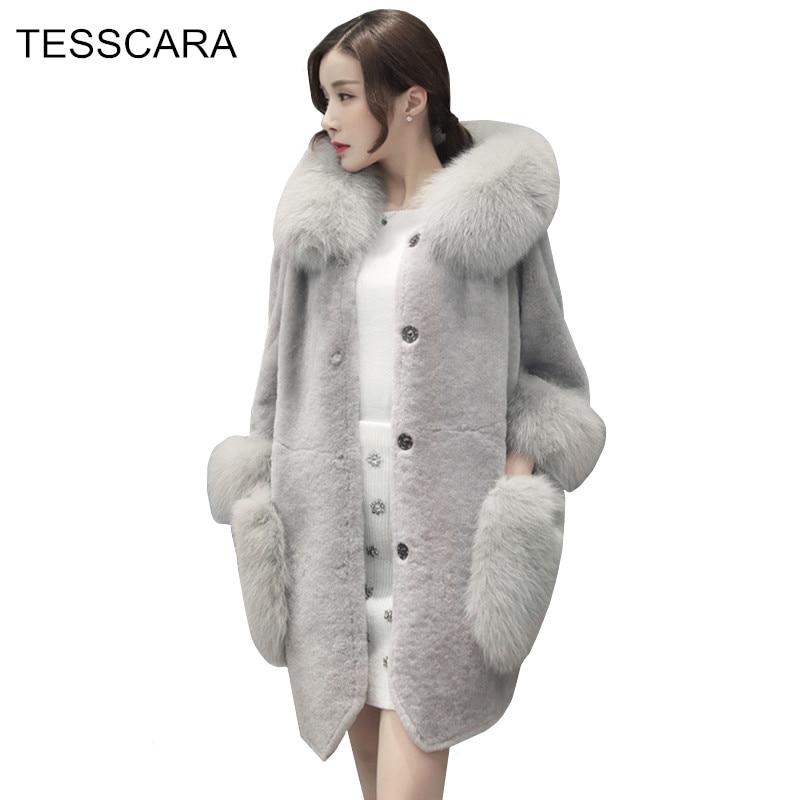 Women Autumn Winter Fashion Fur Jacket Coat Female Faux Fur Basic Jackets Wool Blends Overcoat Outerwear