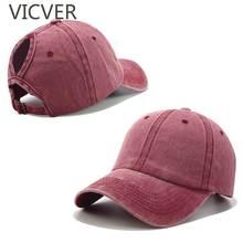 Бейсбольная кепка «конский хвост», женские шапки-булочки, хлопчатобумажные бейсболки с эффектом потертости, Повседневная летняя Женская Спортивная Кепка с солнцезащитным козырьком
