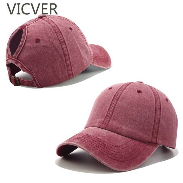 00d0d1be3c9e4 2019 Ponytail Baseball Cap Messy Bun Hats For Women Washed Cotton Snapback  Caps Casual Summer Sun