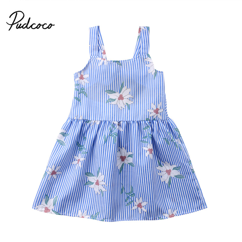 Baby Girl Kids Flower Princess Party Wedding Dress Sleeveless Tops Summer Outfit