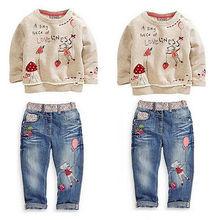 2015 Enfants Bébé Filles Vêtements Chandail + Jeans Denim Pantalon costume de Bande Dessinée Set 2-7Y