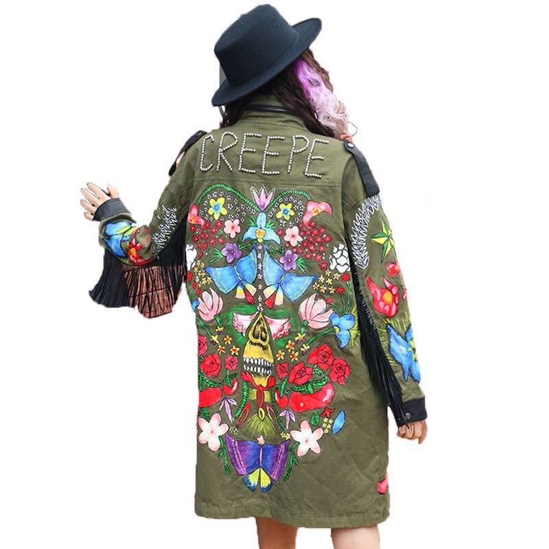 7mang 2018 new women spring street green camouflage flower printing   trench   novel long loose rivet fringe coat