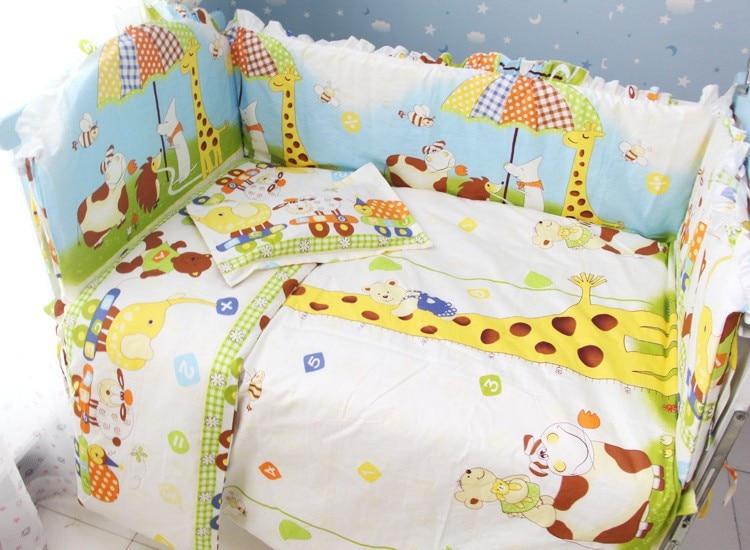 Promotion! 7pcs baby bedding set 100% cotton crib bumper crib bedding piece set  (bumper+duvet+matress+pillow) promotion 10pcs baby crib bedding set 100% cotton baby bedding set bumper matress pillow duvet
