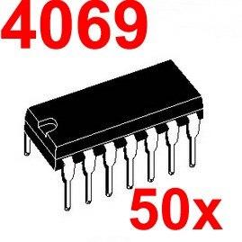 ( 50 pcs/lot ) 4069 CMOS Logic IC, DIP Package.
