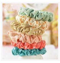 Wholesale 10pcs Womens Hot Multicolor Polka Dot Print Hair Band Rope Scrunchie Ponytail Holder Hair jewelry