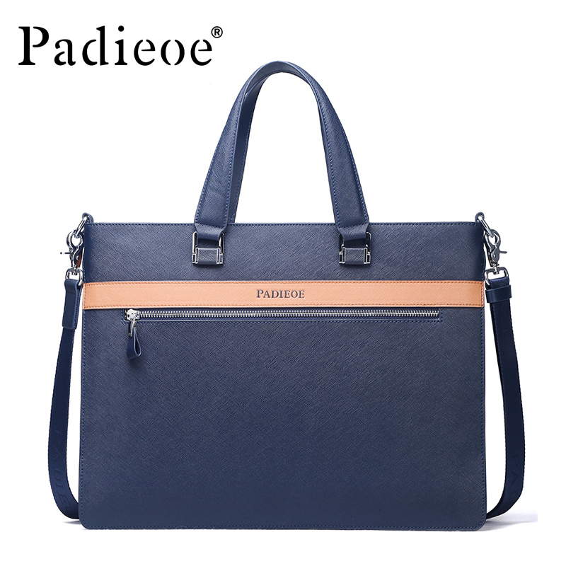 Padieoe Men's Real Cow Leather Briefcase Fashion Designer A4 Document Bag Famous Brand Laptop Bags Genuine Leather Tote Bag