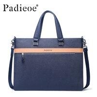 Padieoe Men S Real Cow Leather Briefcase Fashion Designer A4 Document Bag Famous Brand Laptop Bags