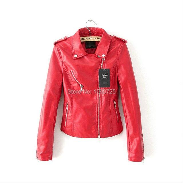 f24b92f35a US $39.98  Giacca di Pelle Di marca c Primavera Autunno PU Capispalla  giacche e cappotti da donna Nero Rosso cappotto di Cuoio Del Motociclo  Jaqueta ...