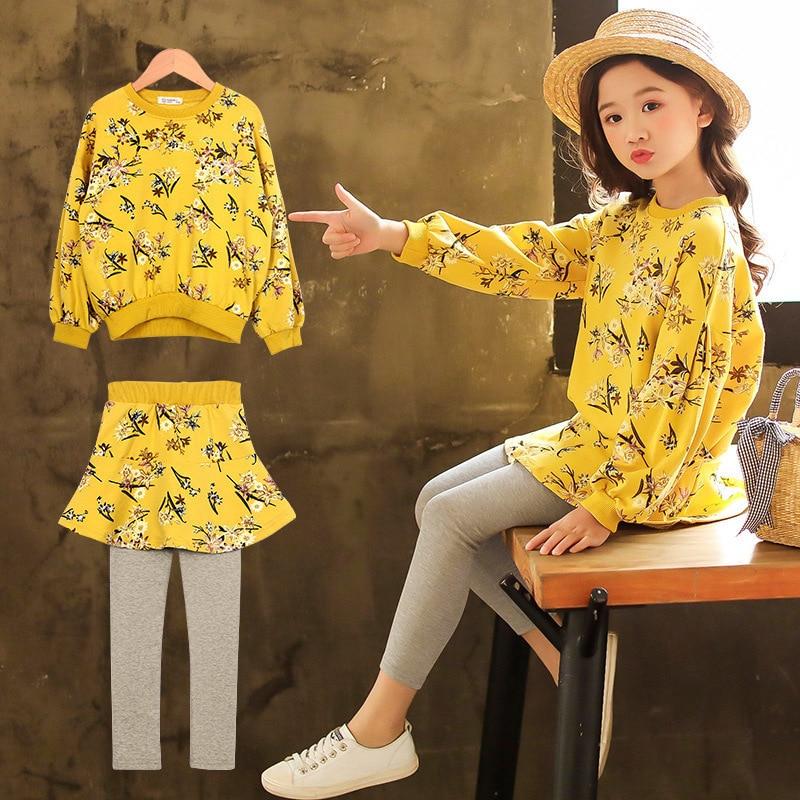 Girls Clothes Set Long Sleeve Sweatshirts + Skirts Legging 2 Pcs Autumn Kids Clothes Winter Teenage Girls Clothing Sets 10 12 14 все цены