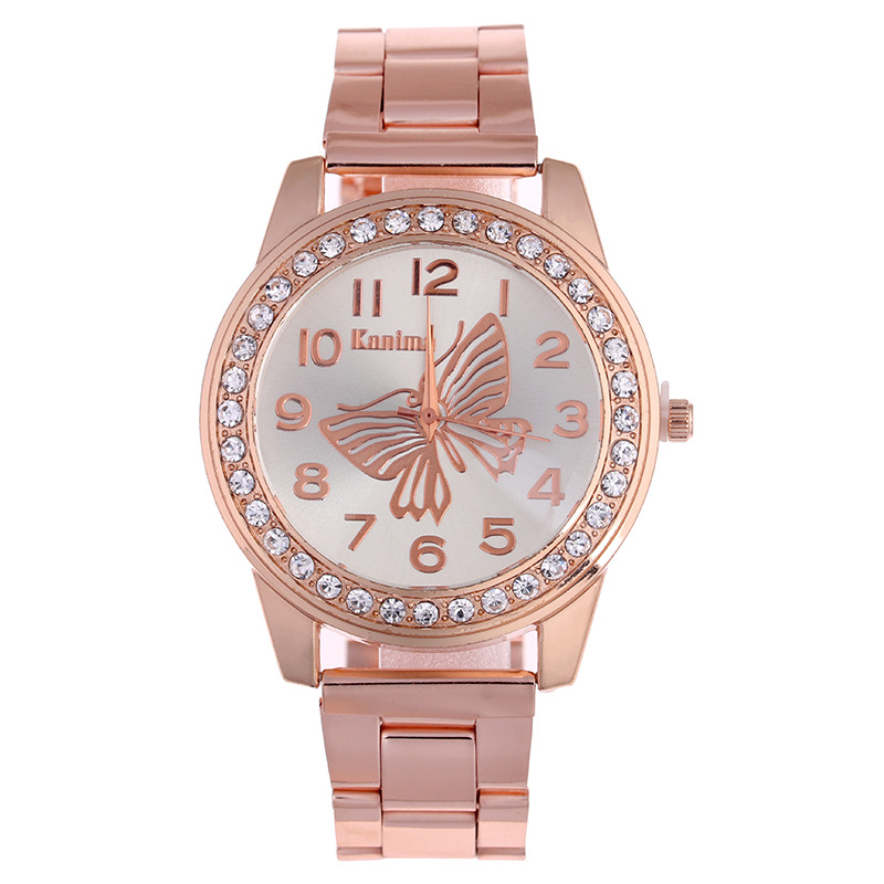 Relojes New Hot Sale High Quality Fashion Kanima Unisex Butterfly Quartz Watch Rose Gold Straps Rhinestone Digital Watch Chasy