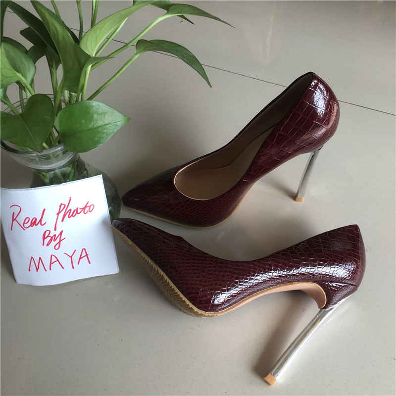 Dames En Cm Red wine Red Stiletto Maya Pointu rose Red Verni Talons Chaussures Pu apricot 12 Cuir blue Photo Pompes Bout Haute Sexy Réel Aq7awz