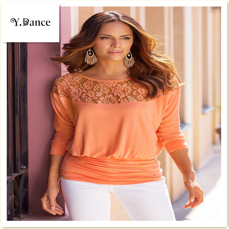 2017 Sell like hot cakes Women Lace Stitching Chiffon Blouses Loose Type Slash neck Shirts Solid Color Three Quarter Sleeve
