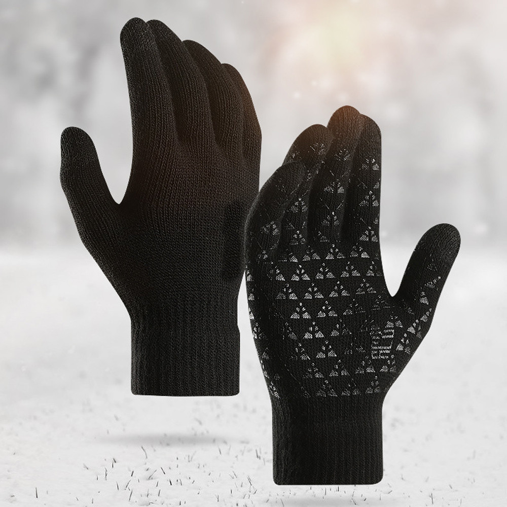 Outdoor Sports Hiking Winter Gloves for Men and Women Knit Anti-Slip Elastic Cuff Windproof Warm Leather Soft Warm Gloves