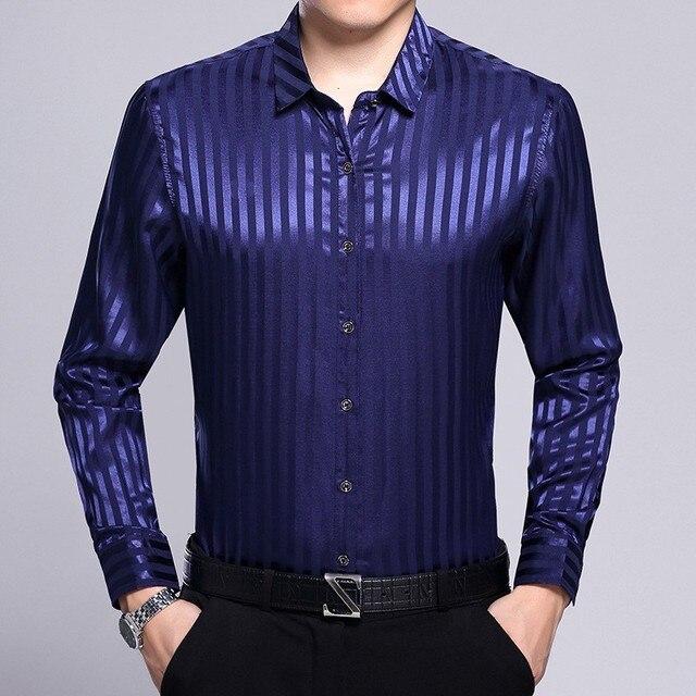 2018 новая полосатая Мужская Модное платье шелковая рубашка поступление Мужская атласная шелковая рубашка с цветочным рисунком с длинным рукавом джентльмен бизнес