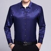 2018 New stripe men's fashion dress silk shirt arrival men's satin silk shirt with floral pattern Long sleeve gentleman business