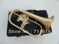 Professional Trumpet Musical Instruments Green Bronze Bb Flugelhorn Monel Valves Brushed Brass Trompeta Horn