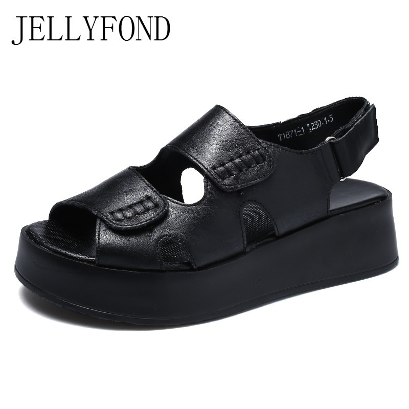 JELLYFOND Sandalias Mujer 2018 Gladiator Sandals For Women Solid Genuine Leather Platform Wedges Summer Shoes Woman Black White 2018 rome shoes women sandals gladiator shoes woman wedges heel ladies sandals platform sandal mujer